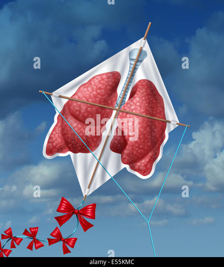 Lungs freedom and clean air quality concept and healthy breathing in a pollution free environment represented by - Stock Image