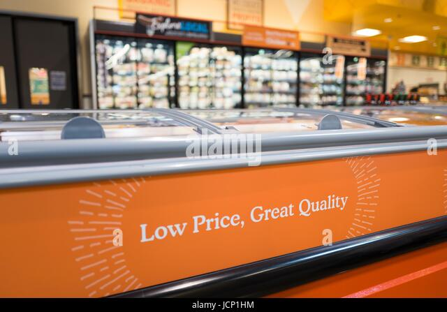 United States. 16 Jun, 2017. A sign reads Low Price, Great Quality at Whole Foods Market grocery store in Dublin, - Stock Image