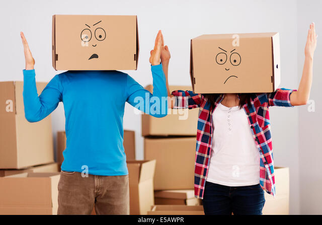 We hate unpacking! Debica, Poland - Stock Image