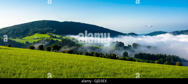 Foggy valley in Styria in Austria - Stock Image