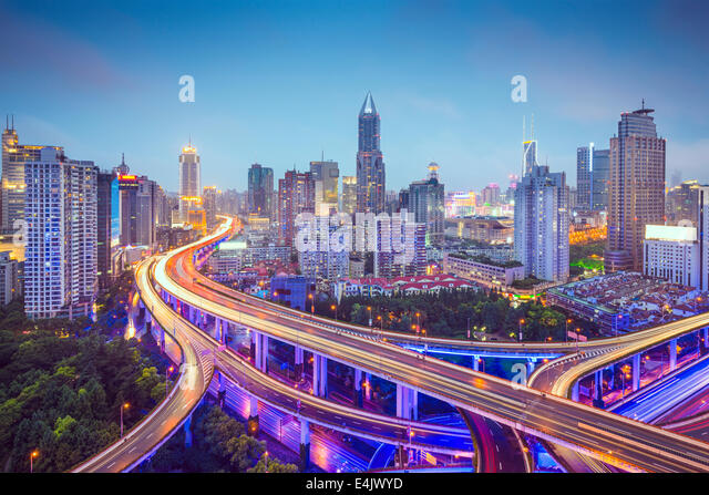 Shanghai, China aerial view over highways. - Stock Image