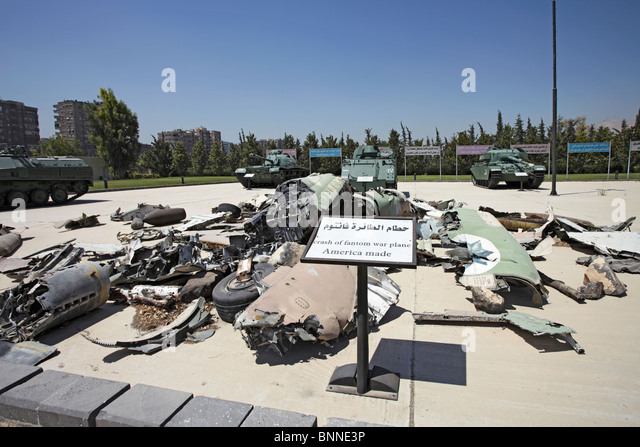 Syria Damascus Panorama military museum crashed Israeli Phantom jet fighter from the Yom Kippur or October war and - Stock Image