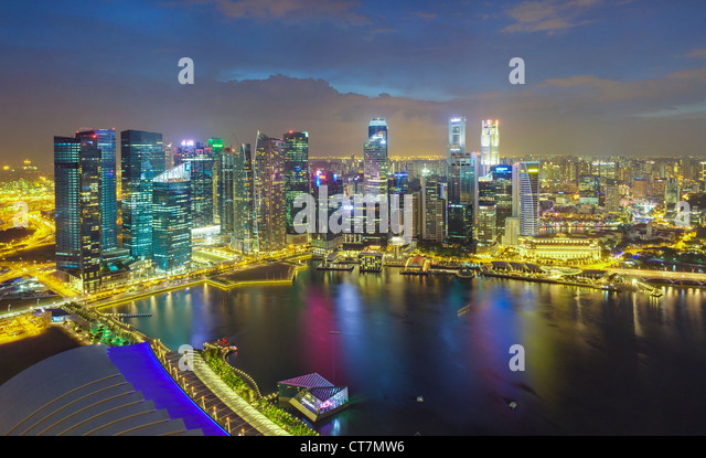 South East Asia, Singapore, Aerial view over Central Singapore and Marina Bay - Stock Image