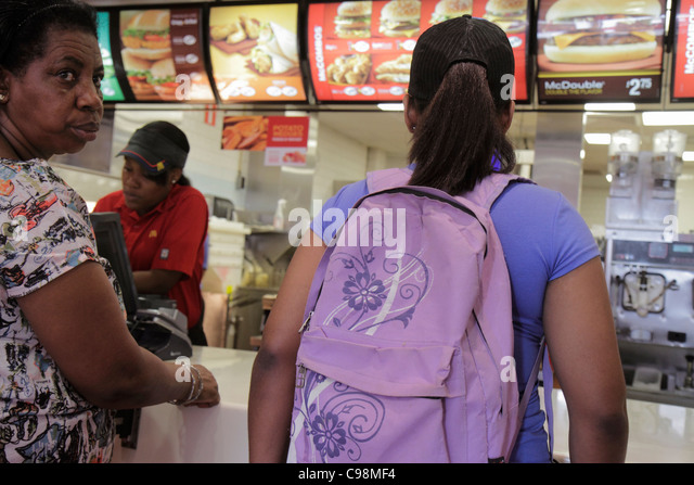 Curaçao Netherlands Antilles Dutch Willemstad Punda Prinsenstraat McDonald's Restaurant fast food American - Stock Image