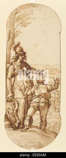 Pallas Athena Shows Taddeo the Prospect of Rome; Federico Zuccaro, Italian, about 1541 - 1609; about 1595; Pen and - Stock Image