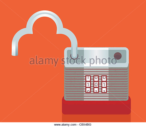 Padlock with cloud-shaped bar - Stock Image