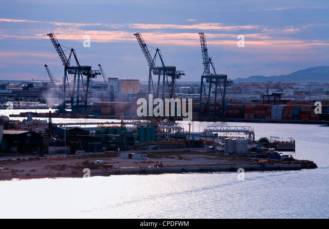Container Port in Barcelona, Catalonia, Spain, Europe - Stock Image