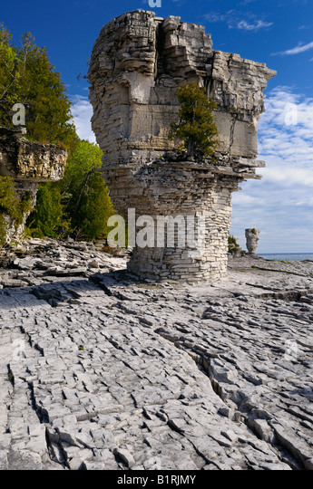Sea stacks rising out of Niagara Escarpment limestone on Flowerpot Island Bruce Peninsula Ontario - Stock Image