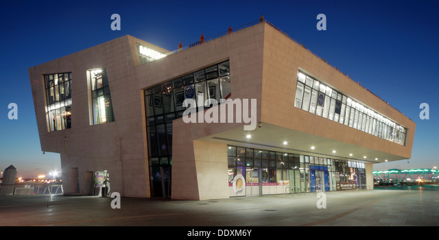Pier Head at Nighttime liverpool Merseyside England UK - Stock Image