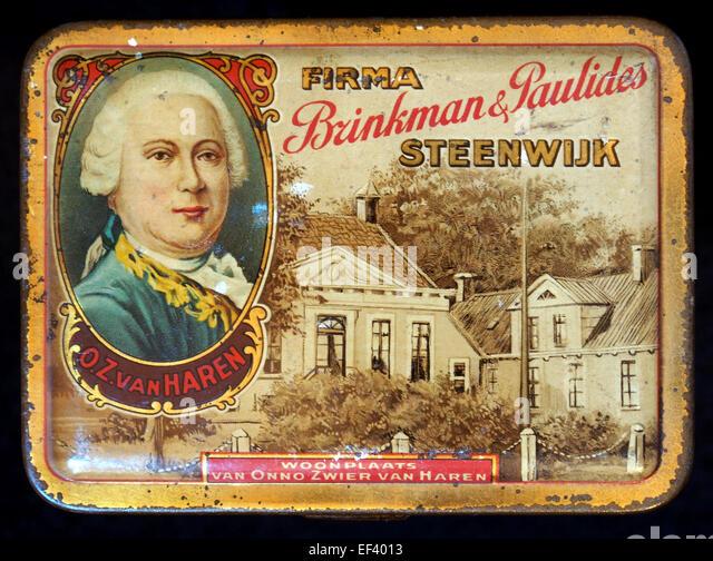 Onno Zwier van Haren sigarenblikje van Firma Brinkman & Paulides, Steenwijk - Stock Image