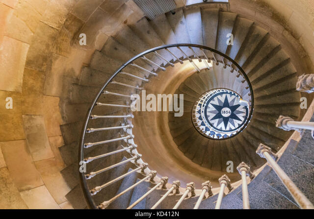 Phare des Baleines, lighthouse, staircase,  Ile de Re, Nouvelle-Aquitaine, french westcoast, france, - Stock Image