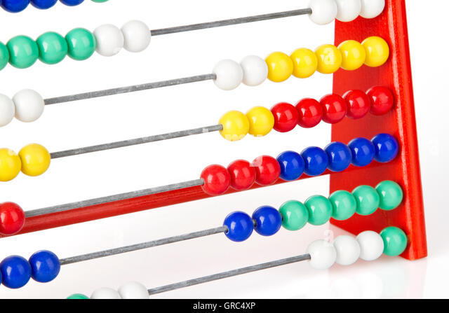Close Up Of A Red Abacus With Multicoloured Balls - Stock-Bilder