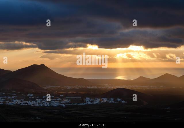 Sunset over Yaiza Lanzarote Canary Islands - Stock-Bilder