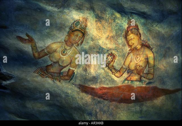 Wall paintings in Sigiriya, Sigiriya maidens, Sigiriya, Sri Lanka Asia - Stock-Bilder