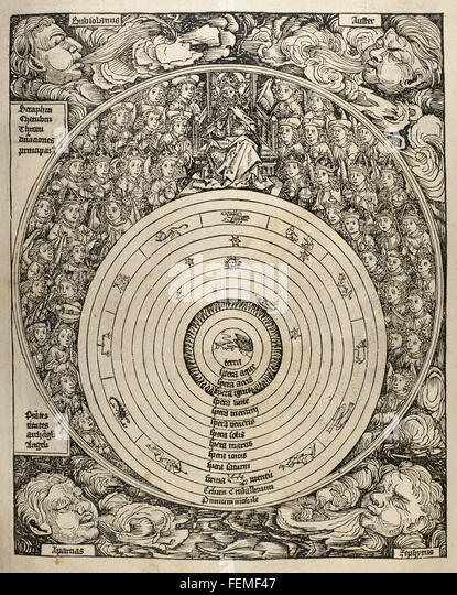 The universe with planets, zodiac signs and all the heavenly hierarchy. Engraving. 16th century. - Stock Image