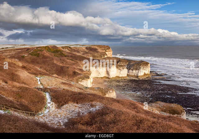 Flamborough Head, East Yorkshire, England, UK, the limestone cliffs at Flamborough head, in winter with a light - Stock Image