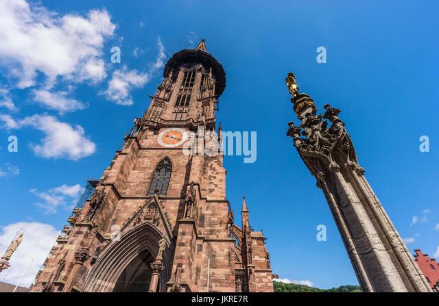 Freiburg cathedral , fountain , Freiburg, Baden-Wuerttemberg,  black forest, Schwarzwald, Germany - Stock Image