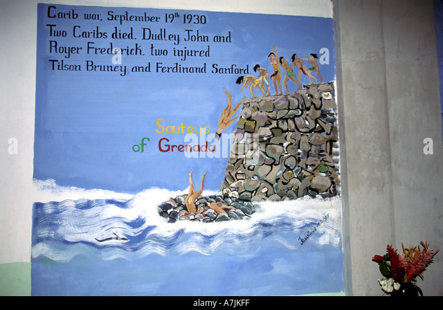 Dominica West Indies Caribbean Carib Territory War Memorial Painting on Church Wall Kalinago people - Stock Image