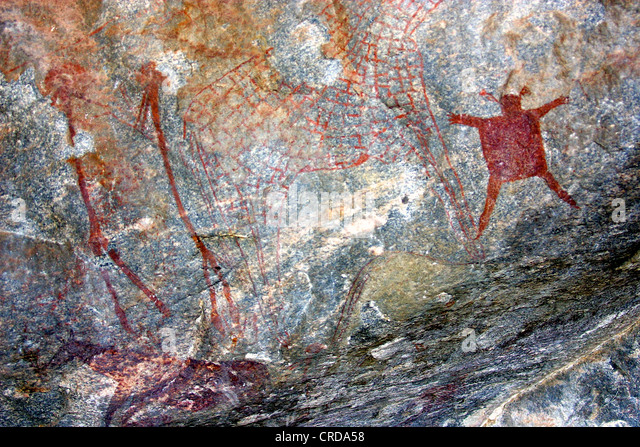 A CAVE PAINTING AT KOLO, NORTHERN TANZANIA. A SERIES OF CAVE PAINTINGS IN KOLO, NORTHERN TANZANIA, COULD BE THE - Stock Image