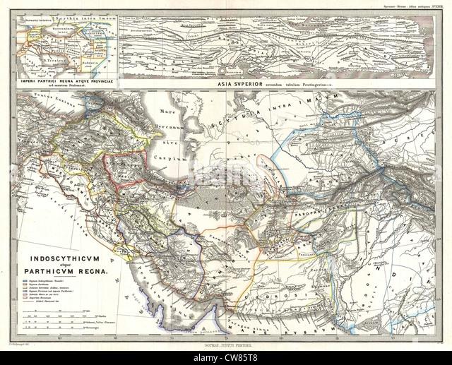 1865 Spruner Map of Persia in Antiquity - Stock Image