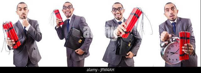 Businessman with dynamite isolated on white - Stock Image