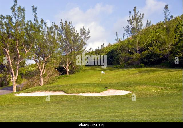 Bermuda golf course st george parish sand trap scenic landscape - Stock Image