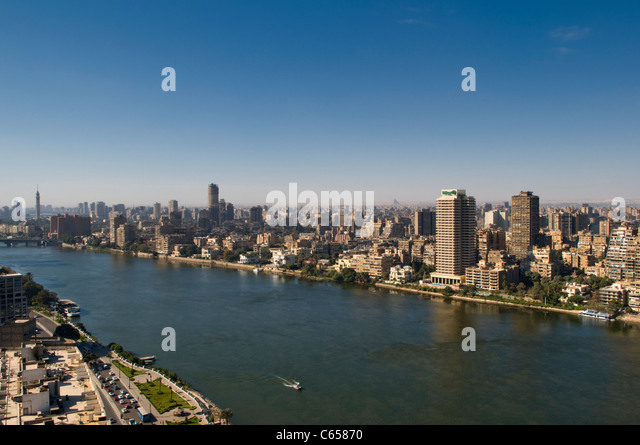 Nile River and cityscape of Cairo Egypt - Stock Image
