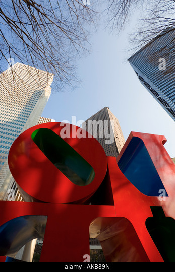 Japan, Honshu, Tokyo, Shinjuku, office buildings and sculpture, low angle view - Stock Image