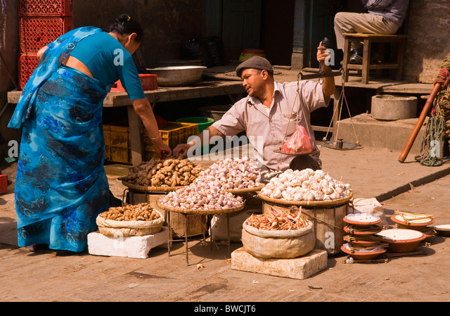 Street seller in Kathmandu, Nepal - Stock Image
