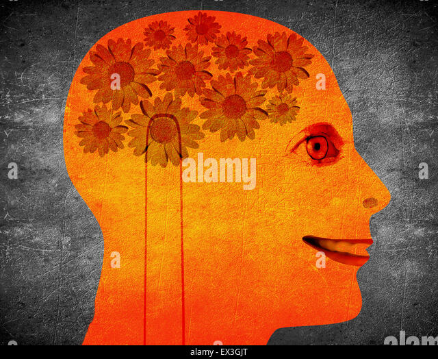 creativity concept illustration with orange head  and daisy flower - Stock Image