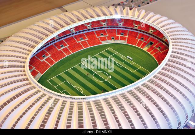 Brazil, Rio Grande do Sul: Architecture model of the World Cup stadium Beira Rio in Porto Alegre - Stock Image