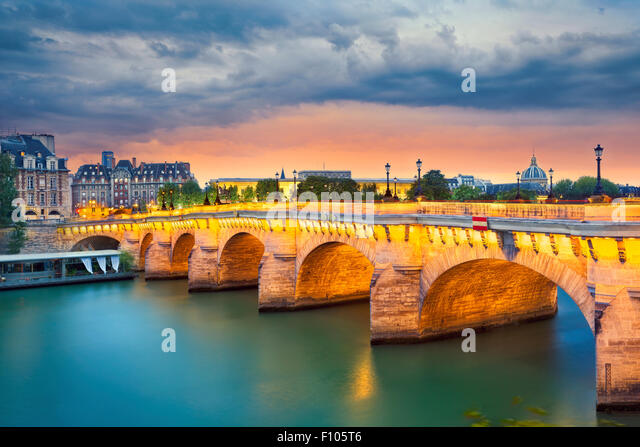 Paris. Image of the Pont Neuf, the oldest standing bridge across the river Seine in Paris, France. - Stock Image