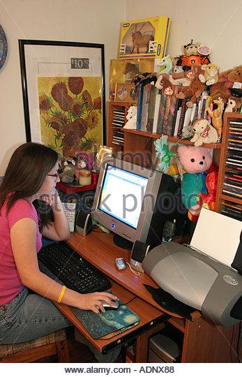 Alabama Stapleton female teen bedroom computer monitor - Stock Image