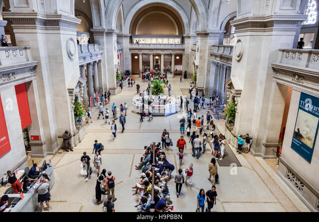 Manhattan New York City NYC NY Upper East Side Fifth Avenue Metropolitan Museum of Art Met Great Hall overhead view - Stock Image