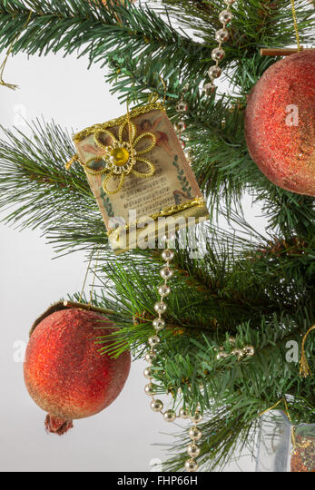 Christmas ornament in vase stock photos christmas for Artificial pomegranate decoration