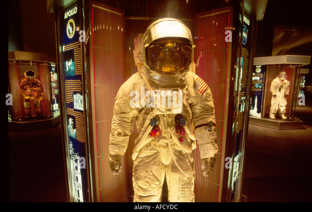 Texas The Southwest Houston Space Center Lunar EVA Suit worn by Charles Conrad Apollo 12 moon mission TX007 - Stock Image