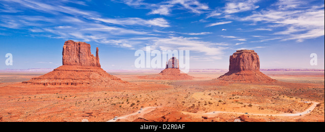 West Mitten Butte, East Mitten Butte and Merrick Butte, The Mittens, Monument Valley Navajo Tribal Park, Arizona, - Stock Image