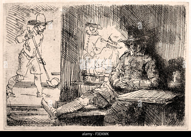The golf player 1654 Rembrandt Harmenszoon van Rijn1606–1669  Dutch Netherlands Etching Etch - Stock Image