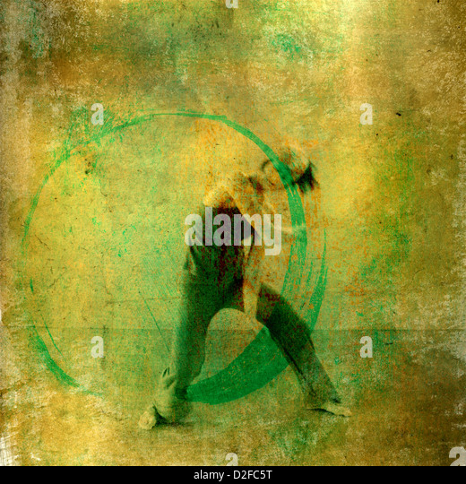 Modern dancer with positive green energy circle. Photo based illustation. - Stock Image