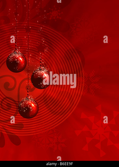 Red christmas illustration with balls stars and snowflakes - Stock-Bilder