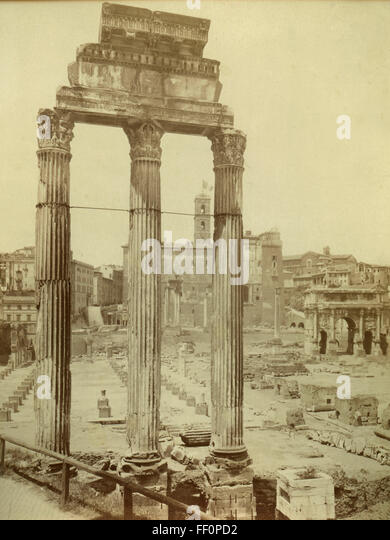 Temple of Castor and Pollux, Rome, Italy - Stock Image