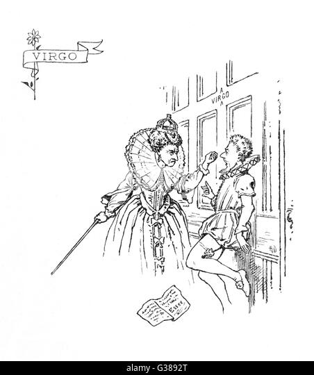illustrated as an encounter  between Elizabeth I and the  Earl of Essex (seemingly  caught in the act of graffiti) - Stock Image