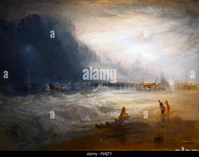 Life-boat and Manby Apparatus Going off to a Stranded Vessel Making Signal of Distress, by JMW Turner, 1831, - Stock Image