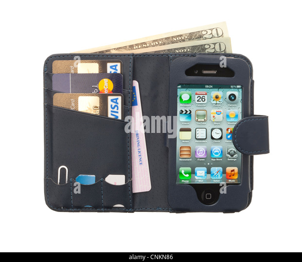 Mobile/Cellular phone leather case with an Apple iphone, credit cards and drivers license. - Stock Image