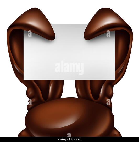 Easter chocolate rabbit sign as sweet confectionary ears holding a blank banner card as a fun spring symbol of holiday - Stock Image