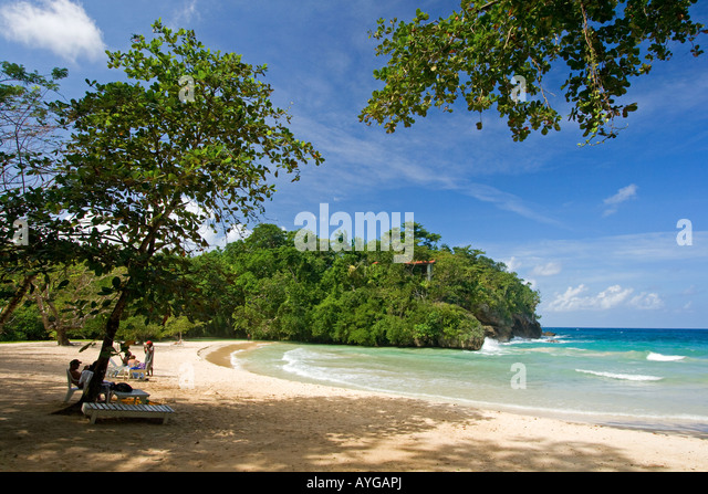Jamaica Port Antonio Tropical landscape at Frenchmans Cove beach - Stock Image