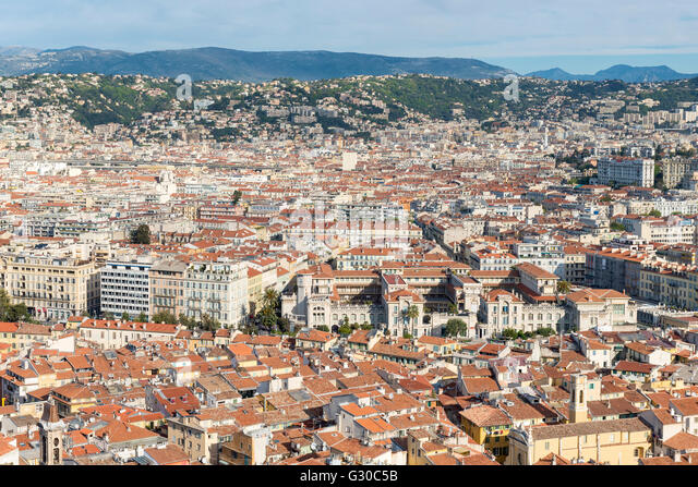 Cityscape skyline view over the city of Nice, Alpes Maritimes, Provence, Cote d'Azur, French Riviera, France, - Stock Image