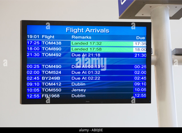 Flight Arrivals electronic notice board at a small UK Airport - Stock-Bilder