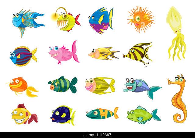 comic, cartoon, illustrations, isolated, animal, fish, underwater, - Stock Image