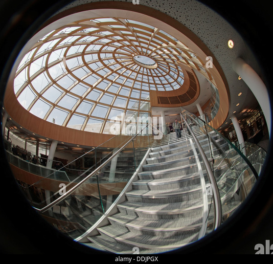 Fisheye lens view interior of the new Liverpool central library Merseyside England UK - Stock Image